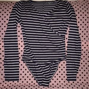 Navy & White Striped bodysuit